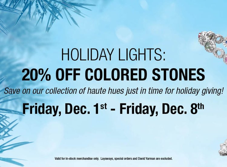 Holiday Lights: 20% Off Colored Stones