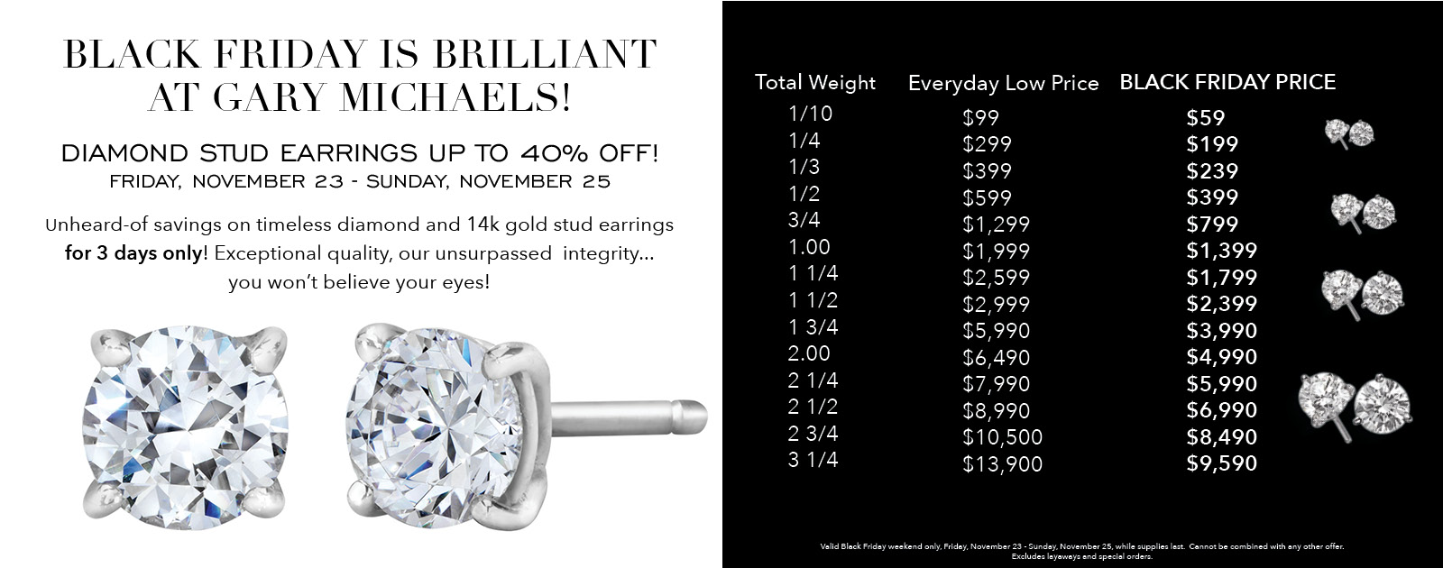Black Friday Diamond Studs Sale Gary Michaels Fine Jewelry