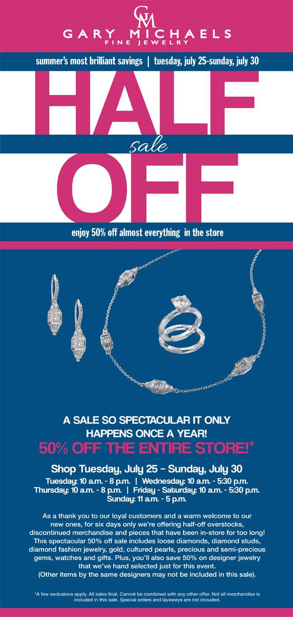 Half Off Jewelry Sale Nj